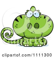 Clipart Cute Green Chameleon Lizard Royalty Free Vector Illustration by Cory Thoman