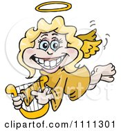 Clipart Grinning Blond Female Angel Holding A Lyre Royalty Free Vector Illustration by Dennis Holmes Designs