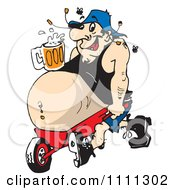 Clipart Man With A Beer Resting On His Beer Belly Propped In A Wheel Barrow Royalty Free Vector Illustration by Dennis Holmes Designs