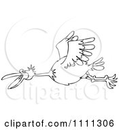 Clipart Outlined Happy Bird Flying Royalty Free Vector Illustration by djart