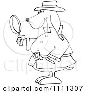 Clipart Outlined Private Detective Dog Using A Magnifying Glass Royalty Free Vector Illustration