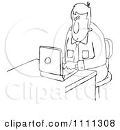 Outlined Businessman Working On A Laptop