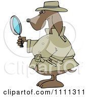 Clipart Private Detective Dog Using A Magnifying Glass Royalty Free Vector Illustration