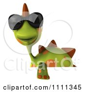 Clipart 3d Spotted Dino Wearing Sunglasses With A Sign 4 Royalty Free CGI Illustration