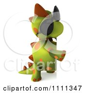 Clipart 3d Spotted Dino Wearing Sunglasses With A Sign 3 Royalty Free CGI Illustration
