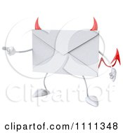 Clipart 3d Devil Email Envelope Character Pointing Royalty Free CGI Illustration