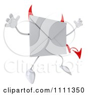 Clipart 3d Devil Email Envelope Character Jumping Royalty Free CGI Illustration by Julos