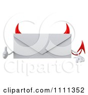 Clipart 3d Devil Email Envelope Character Over A Sign With A Thumb Up Royalty Free CGI Illustration by Julos