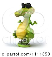 Clipart 3d Crocodile Wearing Shades And Meditating Propped Up On His Tail 2 Royalty Free CGI Illustration