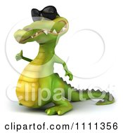 Clipart 3d Crocodile Wearing Shades And Holding A Thumb Up 3 Royalty Free CGI Illustration
