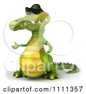Clipart 3d Crocodile Wearing Shades And Presenting Royalty Free CGI Illustration