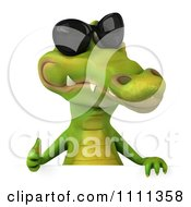 Clipart 3d Crocodile Wearing Shades And Holding A Thumb Up Over A Sign 1 Royalty Free CGI Illustration