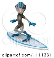 Clipart 3d Alien Surfing 2 Royalty Free CGI Illustration