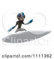 Clipart 3d Alien Surfing 3 Royalty Free CGI Illustration