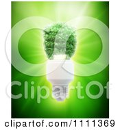 Clipart 3d Spiral Light Bulb Made Of Leaves Over Green Light Royalty Free CGI Illustration