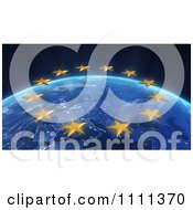Clipart 3d EU Stars Over Europe At Night From Outer Space Royalty Free CGI Illustration