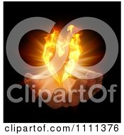 3d Hand With A Flaming Heart