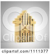 Clipart 3d House Built Ouf Of Gold Bars Royalty Free CGI Illustration