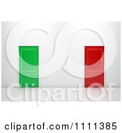 Clipart 3d Red And Green Doors In A Wall Royalty Free CGI Illustration