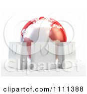Clipart 3d Shopping Bags Around A Red And White Globe Royalty Free CGI Illustration by Mopic