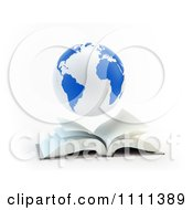 Clipart 3d Blue And White Globe Hovering Over An Open Book Royalty Free CGI Illustration by Mopic