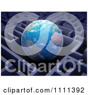 Clipart 3d Globe Hovering In The Center Of A Maze Royalty Free CGI Illustration