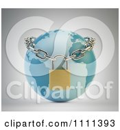 Clipart 3d Earth Secured With A Chain And Padlock Royalty Free CGI Illustration