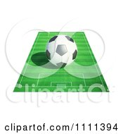 Clipart 3d Soccer Ball On A Field 1 Royalty Free CGI Illustration