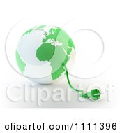 Clipart 3d Power Cable Emerging From A Green And White Globe Royalty Free CGI Illustration by Mopic