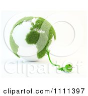 Clipart 3d Power Cable Emerging From A Green And White Grassy Globe Royalty Free CGI Illustration by Mopic
