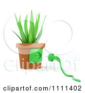 Clipart 3d Power Plug By A Socket On A Plant Pot Royalty Free CGI Illustration