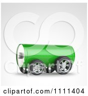 Clipart 3d Green Battery On Wheels Royalty Free CGI Illustration