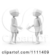 Poster, Art Print Of 3d White People Shaking Hands And Making Introductions