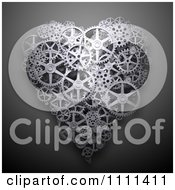 Clipart 3d Heart Made Of Gear Cog Wheels On Gray Royalty Free CGI Illustration