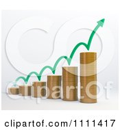 Clipart 3d Stacked Coin Bar Graph With A Bouncing Arrow Royalty Free CGI Illustration