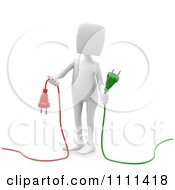Clipart 3d White Person Holding Green And Red Plugs Royalty Free CGI Illustration