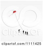 Clipart 3d Tiny Business People Flying A Kite Royalty Free CGI Illustration