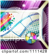 Clipart Film Strip With Rainbow Halftone And Disc Royalty Free Vector Illustration