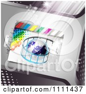 Clipart Film Roll Around A Globe On Metal 1 Royalty Free Vector Illustration