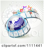 Clipart Film Roll With A Globe Halftone And Stars Royalty Free Vector Illustration