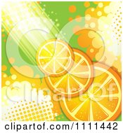 Clipart Background Of Orange Slices With Halftone And Light Royalty Free Vector Illustration by merlinul