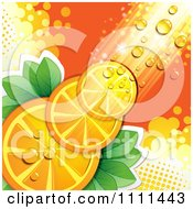 Clipart Background Of Orange Slices With Halftone Dew And Light Royalty Free Vector Illustration