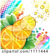 Clipart Background Of Orange Slices With Halftone Dew Rainbows And Light Royalty Free Vector Illustration