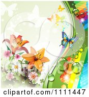 Clipart Background Of Lilies A Rainbow And Butterflies 1 Royalty Free Vector Illustration