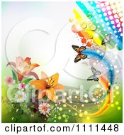 Clipart Background Of Lilies A Rainbow And Butterflies 2 Royalty Free Vector Illustration