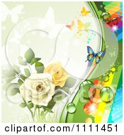 Clipart Background Of Yellow And White Roses Butterflies And A Rainbow 1 Royalty Free Vector Illustration