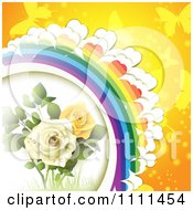 Clipart Background Of Yellow And White Roses Butterflies And A Rainbow 2 Royalty Free Vector Illustration