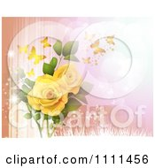 Background Of Yellow Roses And Butterflies On Peach And Pink