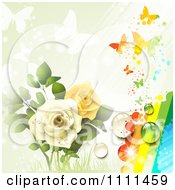 Background Of Yellow And White Roses Butterflies And A Rainbow 3