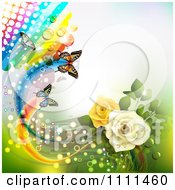 Background Of Yellow And White Roses Butterflies And A Rainbow 4